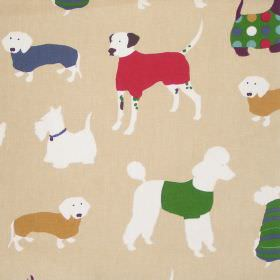 Man's Best Friend - Jewel - Childrens sandy fabric with white dogs in sweaters