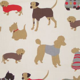 Man's Best Friend - Cinnamon - Childrens sandy fabric with cinnamon brown dogs in sweaters