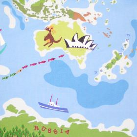 World - Multi - Fabric with a childrens multicoloured map of the world with boats and animals