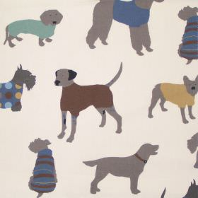 Man's Best Friend - Duck Egg - Childrens sandy fabric with dark brown dogs in sweaters