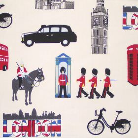 Capital - Cream - Childrens cream white fabric with prints of London landmarks