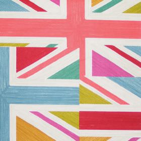 Jack - Spring - Fabric with printed union jacks in spring colours