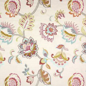 Symphony - Vintage - Floral patterned fabric in lime green, pink, pale blue and grey on cream coloured fabric made from a variety of materials