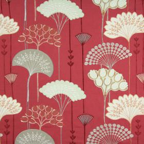 Soprano - Flame - White and grey fan-shaped stylised leaves on a red background of fabric containing cotton, linen, viscose and polyester