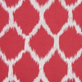 Figaro - Flame - Fabric made from a variety of materials in chalk white patterned with tomato red diamond shapes which have blurred edges