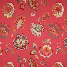 Symphony - Flame - Fabric with a floral pattern made from a range of materials in various shades of red, cream, gold and grey