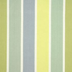 Aria - Saffron - 100% cotton fabric with a vertical stripe design in white, dusky green, pale yellow and various shades of blue-grey