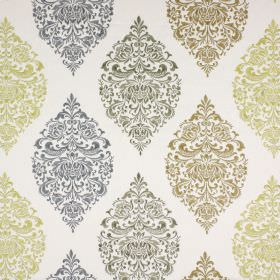 Cressida - Saffron - Lime green, dusky green, forest green and navy coloured ornate patterns repeatedly patterning white fabric