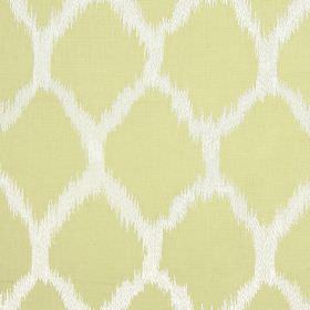 Figaro - Saffron - Pale yellow and white coloured fabric made from cotton, linen, viscose and polyester, with diamonds with blurred edges
