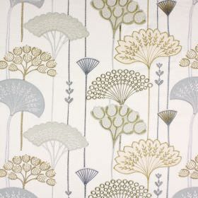 Soprano - Saffron - Blue, grey and green tones making up a pattern of stylised fan-shaped leaves on a background of fabric in off-white