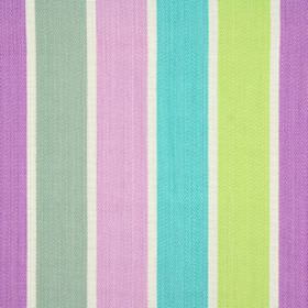 Aria - Wisteria - Fabric made from 100% cotton in white, with vertical stripes in two shades of purple, lime green, light blue and grey