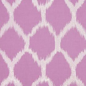 Figaro - Wisteria - Lilac coloured diamonds with blurred edges printed on a white cotton-linen-viscose-polyester blend fabric background