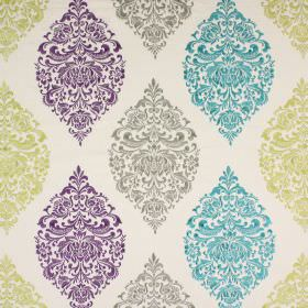 Cressida - Wisteria - White fabric with detailed patterns arranged in pointed oval shapes in grey, aqua blue, lime green and Royal purple
