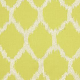 Figaro - Laburnum - Fabric made from cotton, linen, viscose and polyester with diamond design with blurred edges in white and citrus colours