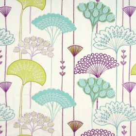 Soprano - Wisteria - Stylised leaves arraged in fan shapes in light blue, lime green and shades of purple on a plain white fabric background