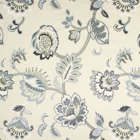 Symphony - Jet - White fabric containing cotton, linen, viscose and polyester, covered with a floral design in various shades of grey