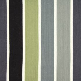 Aria - Charcoal - White, dusky green and various shades of grey making up a regular striped design on fabric made entirely from cotton
