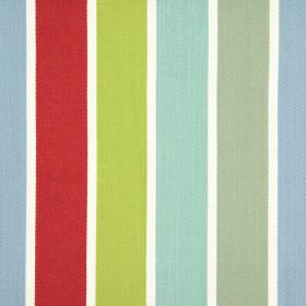 Aria - Vintage - Wide vertical bands of red, lime green, blue, dusky green and pale turquoise on a white 100% cotton fabric background