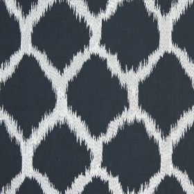 Figaro - Jet - Charcoal coloured diamonds with rough edges on a white fabric background containing cotton, linen, viscose and polyester