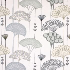 Soprano - Charcoal - White fabric containing a variety of different materials, patterned with stylised fan-shaped leaves in shades of grey