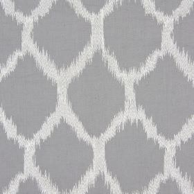 Figaro - Charcoal - Light grey and white coloured fabric containing a blend of different materials, with diamonds with blurred edges