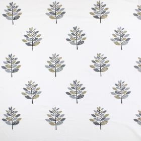 Minuet - Charcoal - Several different shades of grey making up a pattern of branches with simple leaves on a white blended fabric background