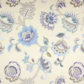 Symphony - Porcelain - Cream coloured fabric with a blended content, patterned with vines, leaves and flowers in shades of blue and grey