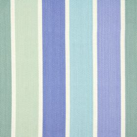 Aria - Porcelain - White fabric made entirely from cotton, with a regular vertical striped pattern in various different shades of blue