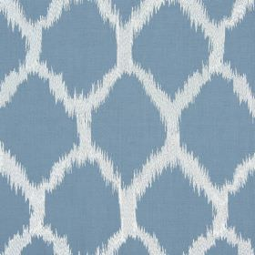 Figaro - Porcelain - Dusky blue & white coloured fabric containing a cotton, linen, viscose and polyester blend, with roughly edged diamonds