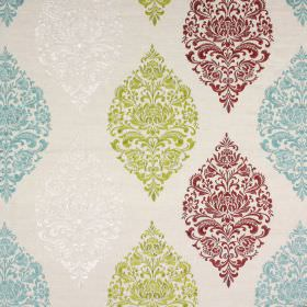 Cressida - Vintage - Very ornate patterns in pointed oval arrangements in deep red, light green, light blue and white on very pale grey fabric
