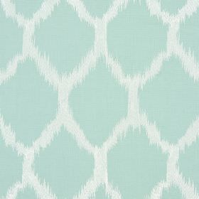 Figaro - Vintage - Aqua coloured diamonds with blurred edges on a background of white fabric made from cotton, linen, viscose and polyester