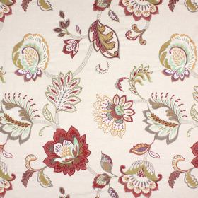 Symphony - Pomegranate - Stylish flowers in rich shades of red, gold and grey scattered over fabric with a cotton, linen, viscose and polyester