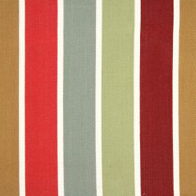 Aria - Pomegranate - Vertically striped 100% cotton fabric featuring white, sand, tomato, iron grey, dusky green and burgundy colours