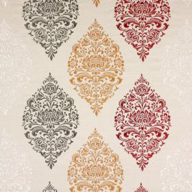 Cressida - Pomegranate - Cream coloured fabric made from a variety of materials with repeated ornate patterns in white, grey, gold and red
