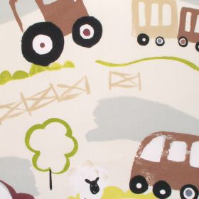 Countryside - Linen - Neutral cotton kids fabric with brown and green tractor print