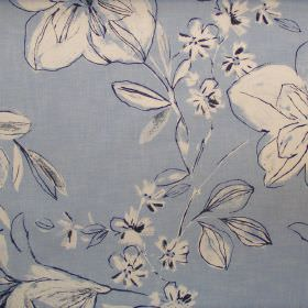 Summer - Lulworth Blue - Classic floral sketch design on lulworth blue fabric