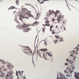Cinder Rose - Mist - Mist grey rose impressions on white fabric