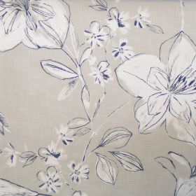 Summer - String - Classic floral sketch design on string ochre fabric