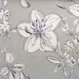 Summer - Graphite - Classic graphite black floral sketch design on grey fabric