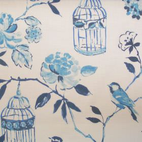 Geisha - Lulworth Blue - Lulworth blue floral and bird images on white fabric