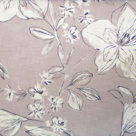 Summer - Mist - Classic floral sketch design on mist grey fabric