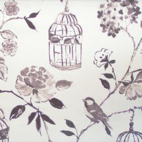 Geisha - Mist - Mist grey floral and bird images on white fabric