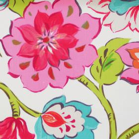 California - Tropical - Modern tropical pink floral pattern on white fabric