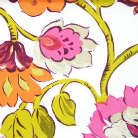 California - Tabasco - Modern tabasco orange floral pattern on white fabric