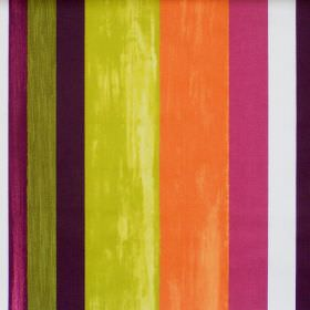 Vegas - Tabasco - Colourful lively striped fabric with tabasco orange