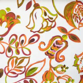 Bel Air - Tabasco - Colourful fabric with brushstroke design of flowers in tabasco orange