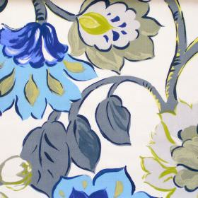 California - Cobalt - Modern cobalt blue floral pattern on white fabric