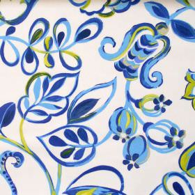 Bel Air - Cobalt - Colourful fabric with brushstroke design of flowers in cobalt blue