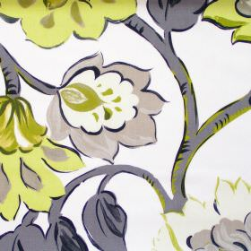 California - Lime - Modern lime green floral pattern on white fabric