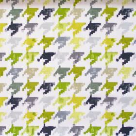 Nevada - Lime - Colourful retro design in lime green on white fabric